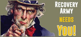 Uncle Sam pointing and text: RECOVERY ARMY NEEDS YOU!